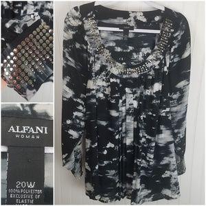 Alfani Woman 20W B&W Long Sleeve Shirt Metal Stud